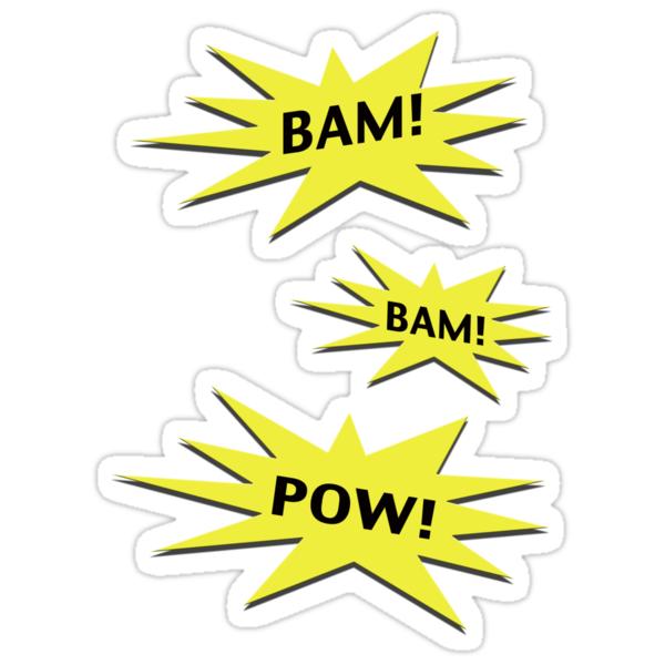 Quot Bam Bam Pow Quot Stickers By Stuarty Redbubble