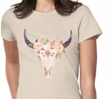 Ethnic Flowers Bull Head  Womens Fitted T-Shirt
