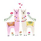 White and Pink Llama Pattern by latheandquill