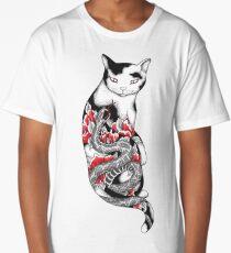 Cat in Grey Snake Tattoo Long T-Shirt