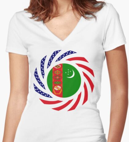 Turkmen American Multinational Patriot Flag Series Fitted V-Neck T-Shirt