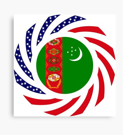 Turkmen American Multinational Patriot Flag Series Canvas Print