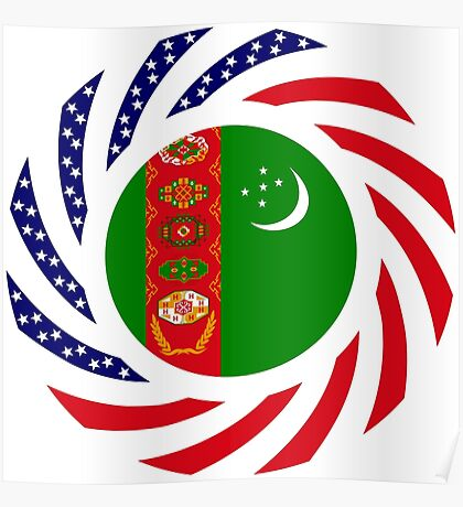 Turkmen American Multinational Patriot Flag Series Poster