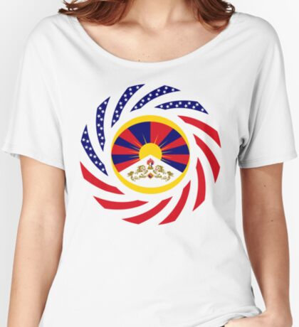 Tibetan American Multinational Patriot Flag Series Relaxed Fit T-Shirt