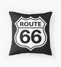 ROUTE 66 ROAD SIGN BLACK Throw Pillow