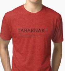 Quebec french Tabarnak PQ Qc swearing cursing word with funny definition and Québec fleur de lys Tri-blend T-Shirt