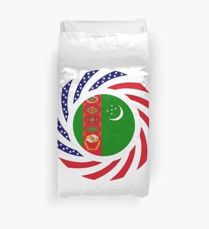 Turkmen American Multinational Patriot Flag Series Duvet Cover