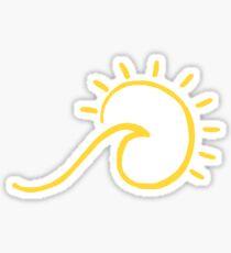 Pegatina ola de playa amarilla sol brillo