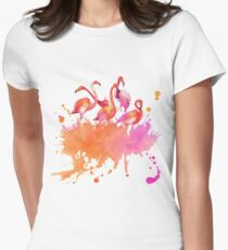 March Of The Pink Flamingos Watercolor Women's Fitted T-Shirt
