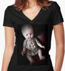Creepy Doll, vintage doll, horror doll. Doll. Halloween. Gothic. Vintage.  Women's Fitted V-Neck T-Shirt