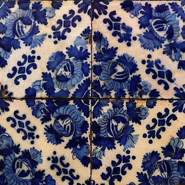 Blue flowers tile by madalenalobaote