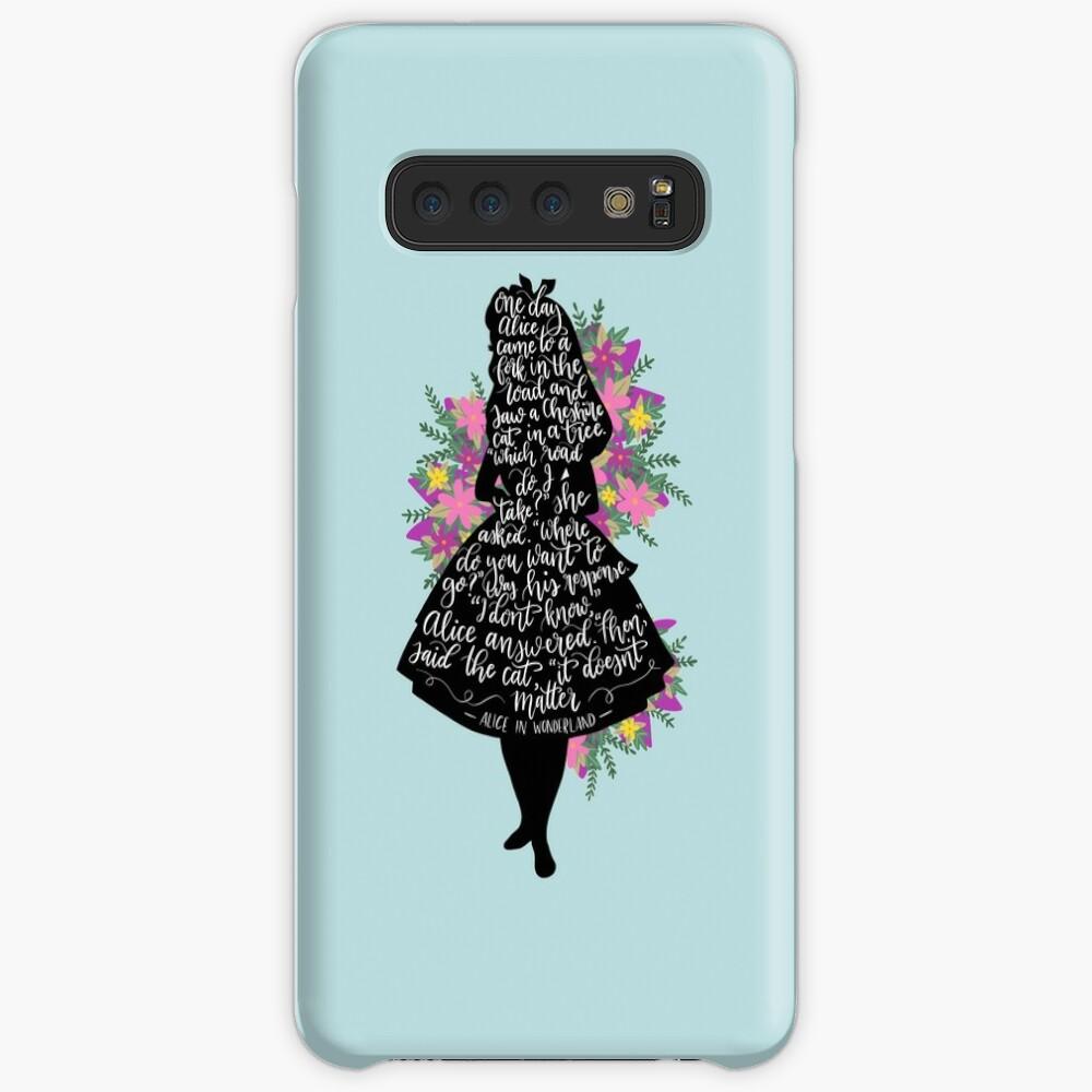 Alice im Wunderland Zitat Silloette Hülle & Klebefolie für Samsung Galaxy