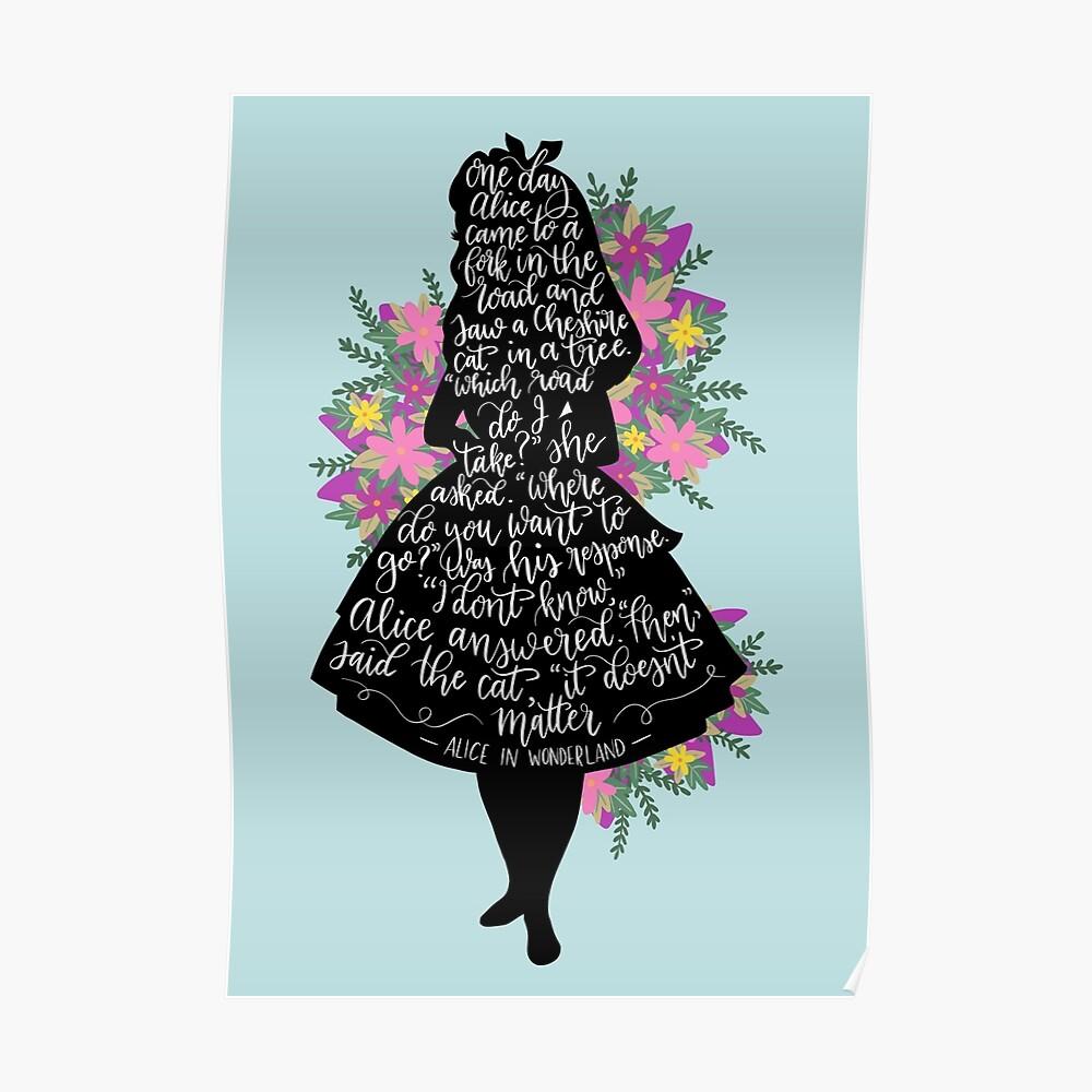 Alice im Wunderland Zitat Silloette Poster