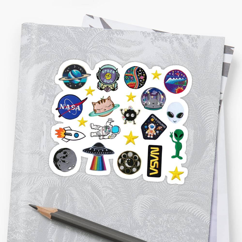 Space Exploration Alien Outer Space Galaxy Patch Inspired Pack Stickers