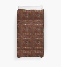 Hand-Tooled Leather Medieval Book Cover Duvet Cover