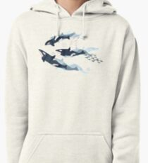 Orca in Motion / blush ocean pattern Pullover Hoodie