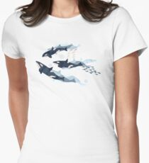 Orca in Motion / blush ocean pattern Women's Fitted T-Shirt