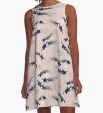Orca in Motion / blush ocean pattern A-Line Dress
