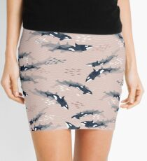 Orca in Motion / blush ocean pattern Mini Skirt