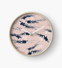 Orca in Motion / blush ocean pattern Clock