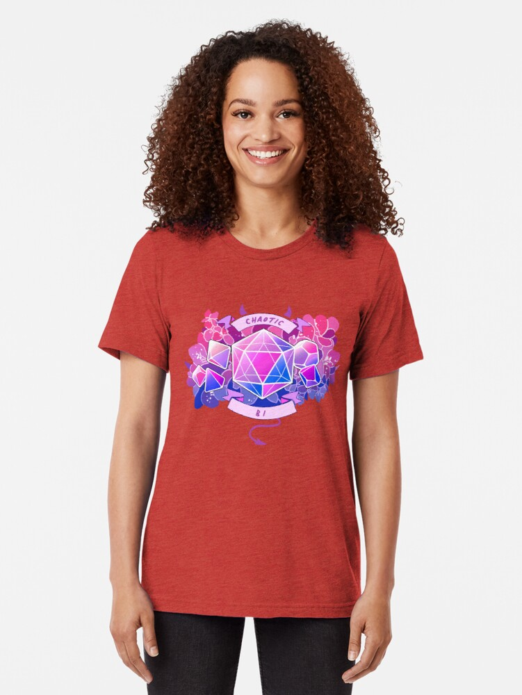 Vista alternativa de Camiseta de tejido mixto LGBT RPG - Chaotic Bi