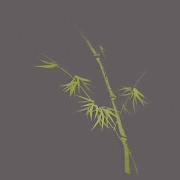 Exquisite artistic design in oriental Japanese Zen style of a green bamboo stalk on natural gray background art print by AwenArtPrints