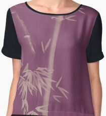 Three bamboo stalks with leaves artistic oriental style design illustration in dusty purple colors art print Chiffon Top