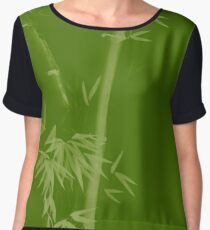 Three bamboo stalks with leaves artistic oriental style design illustration in natural green colors art print Chiffon Top