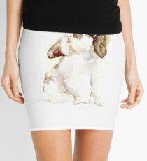 White & Brown Holland Lop Rabbit Mini Skirt