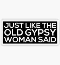 Just Like The Old Gypsy Woman Said Transparent Sticker