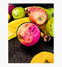 The Pink Apple with the Banana and the Green Apples Photographic Print