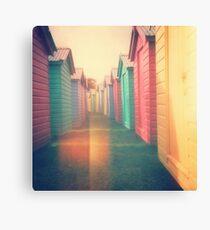 Beach Huts 02D - Retro Canvas Print