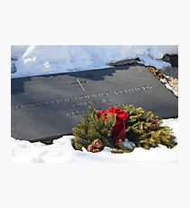 Jacqueline Kennedy Onassis Tombstone With Snow Photographic Print