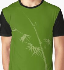 Exquisite artistic design in oriental Japanese Zen style of bamboo stalk on earth green background art print Graphic T-Shirt