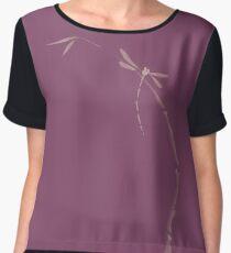 Artistic Japanese Zen illustration design of Dragonfly sitting on bamboo stalk in dusty purple art print Chiffon Top