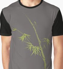 Exquisite artistic design in oriental Japanese Zen style of a green bamboo stalk on natural gray background art print Graphic T-Shirt
