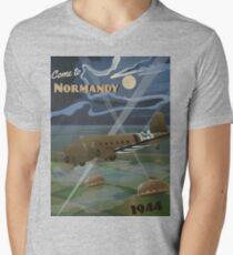 """Normandie 1944 """"D-Day Reise Poster"""" T-Shirt mit V-Ausschnitt"""