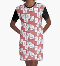 Mah Jong cubes on red background  Graphic T-Shirt Dress