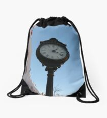 Clock, #clock, Brooklyn, #Brooklyn, Manhattan, #Manhattan, New York, #NewYork, NYC, #NYC, New York City, #NewYorkCity Drawstring Bag