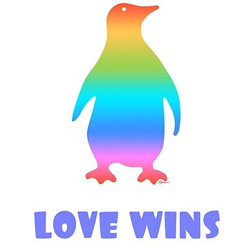 LGBT Pride Rainbow Penguin Love Wins by Punchzip
