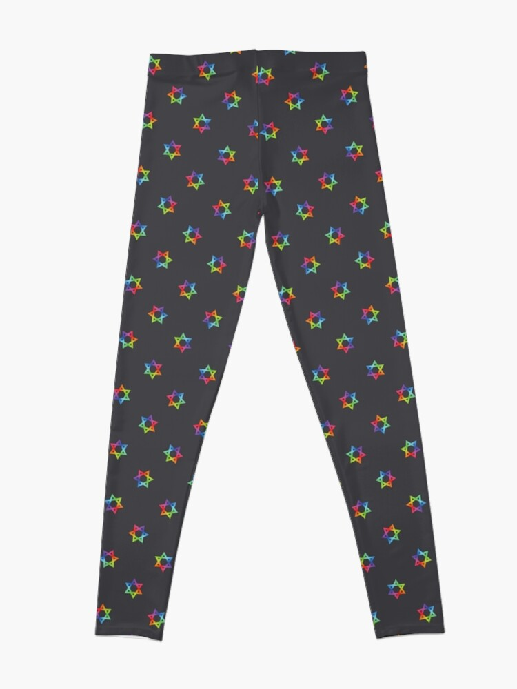 Alternate view of Rainbow Star of David Pattern on Dark Gray Leggings