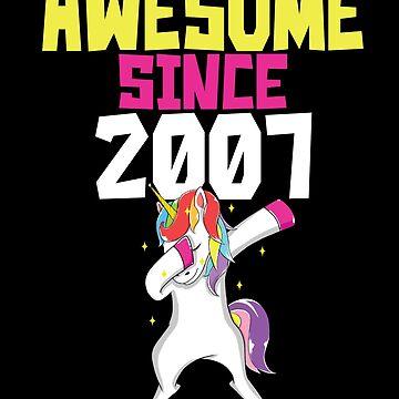 Awesome Since 2007 11th Birthday Dabbing Unicorn Lover T shirt  Birthday by kh123856