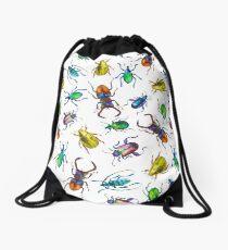 watercolor beetles Drawstring Bag