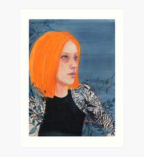 Orange & Indigo girl Art Print