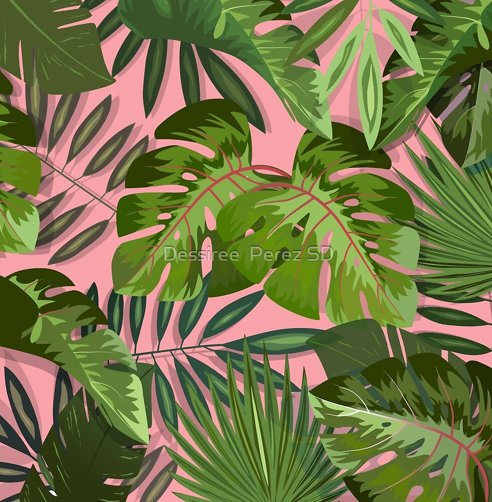 Pink b. Summer tropical leaves by Dessiree  Perez