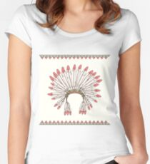 Hand drawn native american indian chief headdress Women's Fitted Scoop T-Shirt