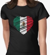 Mexican Heart Flag Women's Fitted T-Shirt