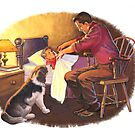 father and son with dog by larry ruppert