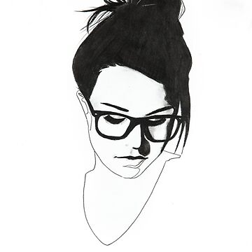 nerdy girl with bun and glasses by stoekenbroek