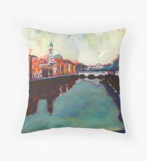 Liffey, Arran Quay and Ushers Quay - Dublin Throw Pillow